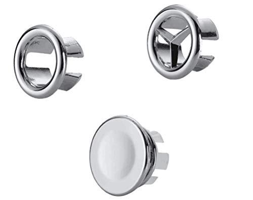 LWD Bouchon avec 2anneaux ronds pour trop-plein de lavabo ou évier–3pièces