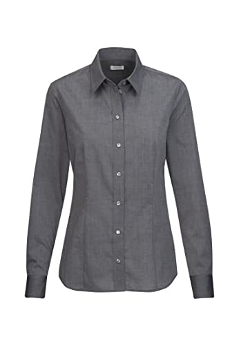 Seidensticker Damen Hemdbluse Langarm Regular Fit Uni Bügelfrei Bluse, Grau, 36