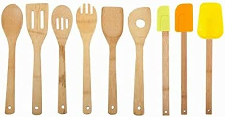 9 Piece Utensil Max 74% OFF Set Includes Bamboo ga Kitchen Turner Slotted Sale item