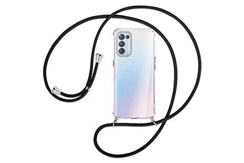 mtb more energy® Handykette kompatibel mit Oppo Find X3 Lite (6.43'') - schwarz - Smartphone Hülle zum Umhängen - Anti Shock Full TPU Hülle