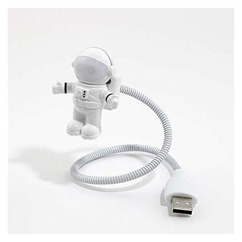 YEYU BH Lámpara de Mesa Romántica Led Bombilla USB Puerto Dc Resina Perilla Interruptor en forma de cuña Enchufe nocturno Astronauta Luz USB (Color: Beige)