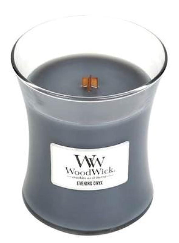 ラフ警報整理するイブニングオニキスWoodWick 10?oz Medium砂時計Jar Candle Burns 100時間