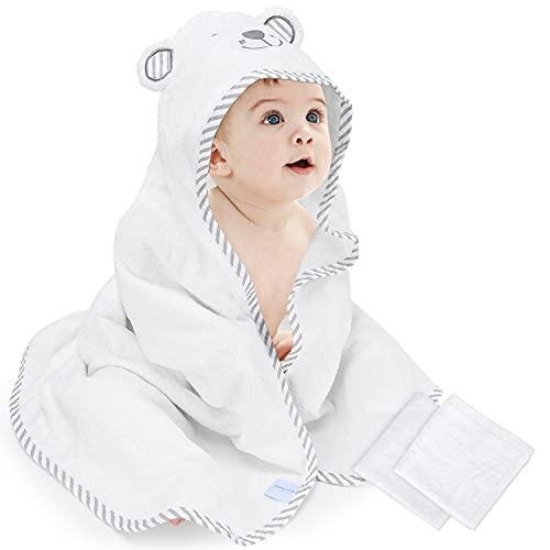Capa de Baño Bebé, Toalla Delantal con Capucha,Toallas de baño de fibra de bambú orgánico para bebés Pañuelo bordado con oso Toalla suave de naturaleza para niños pequeños Super absorbente Grueso