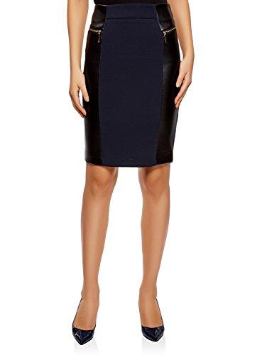 oodji Collection Falda de piel sintética mujer, azul