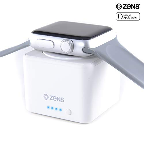 ZENS Wireless Apple Watch Charger with Integrated 1300 mAh Power Bank, Travel Friendly Charging Puck, Charges Your Apple Watch up to 3 Times, Works with Apple Watch Series 3, Apple MFi Certified