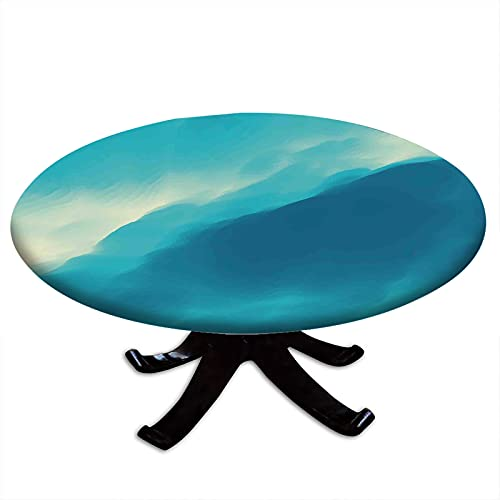 Modern Round Fitted Tablecloth, Oil Artwork Cloud Wave Image with Ombre Seem Colored Contemporary Artwork Print Elastic Edge, Waterproof and wipeable, Fits Tables 24' - 28' Diameter Blue and White