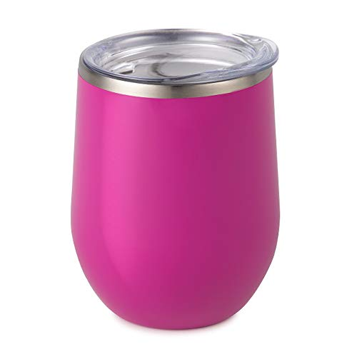 Maars Bev Stainless Steel Stemless Wine Glass Tumbler with Lid, Vacuum Insulated 12 oz Fuchsia Cup | Spill Proof, Travel Friendly, Fun Cocktail Drinkware