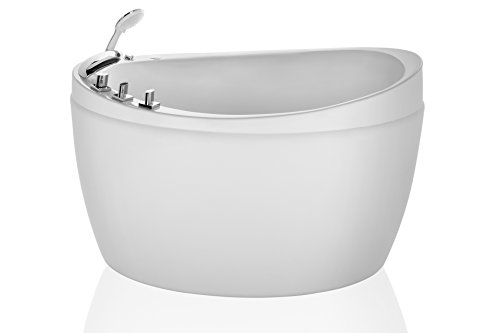 Empava 48 in. Freestanding Bathtub Air Mirco Bubble Hydrotherapy Oval Japanese SPA Tub, 48 Inch, White