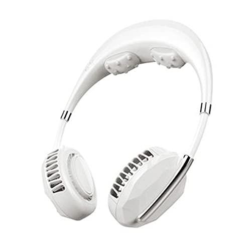 SeniorMar-UK Rechargeable Portable Mini USB Massage Ventilateur Cou Ultra Silencieux Refroidisseur Climatiseur sans Feuilles Suspendu Ventilateur Cou Ventilateur Paresseux Blanc 19x7x30CM