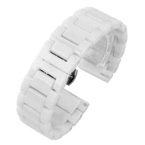 Xnhgfa Ersatz Sportuhren Armband Keramik Uhrband hochwertigen Keramik Ersatz Uhrenarmbänder Smart Armband,Weiß,20mm