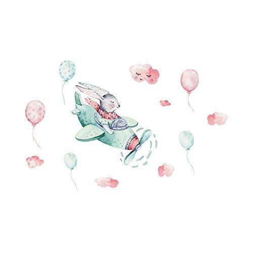 Liu Yu·casa creativa Conejito Avión y Globo Pegatina de Pared Madera Pelar y Pegar Papel Pintado Decoración de Pared Extraíble para Decoración del Hogar