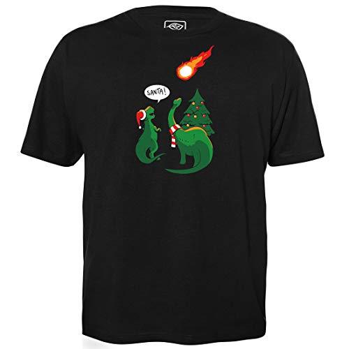 Merry Extinction-Level Event - Men's T-Shirt for Geeks with Slogan Motif Made of Organic Cotton Short Sleeve Round Neckline, S Black