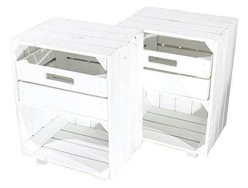 Obstkisten-online 2X WEIßE HOLZKISTEN mit SCHUBLADE und Fach, auf Füßen -NEU- 30,5x40x54cm - dekoratives Beistellmöbel für Bett oder Schreibtisch