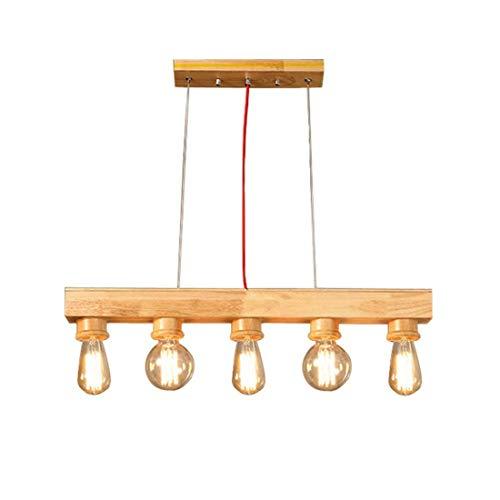 Lámpara colgante de leña, plafón retro vintage, altura