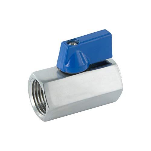 3/8' Valvola a sfera mini monoblocco in acciaio inox, maniglia a leva in alluminio, filettatura interna, meccanismo di chiusura leggero rubinetto ideale, adattatore per industria, commercio casa.