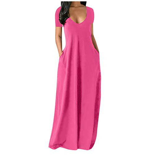 tianyafod Maxi Dress for Women, 2021 Fashion Summer Fashion Casual Plus Size Short Sleeve Loose Beach Long Dress with Pocket Hot Pink