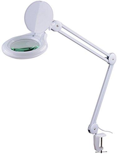Komerci KML-9003-8D-LED Kaltlicht Lupenleuchte Lupenlampe, 125mm 8-D Linse, 14W mit Dimmer inkl. Tischklemme