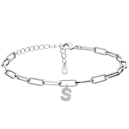 BAVELA Pulsera de mujer con letras de acero inoxidable de alta calidad, pulseras de pareja personalizadas en plata o dorado, elige tu propia letra