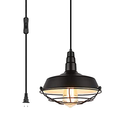 """Pendant Light with Plug in 15Ft Braided Cord and Switch Rustic Hanging Lamp with Metal Cage Shade Vintage Swag Lighting for Kitchen Island Dining Room Bar Counter(BLACK-10.23"""")"""