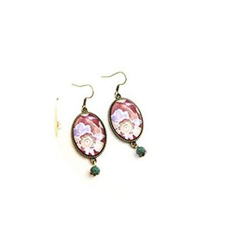 Pendientes de gota de cabujón con diseño de flores de color rojo vino, joyería de cristal de cúpula, hechos a mano