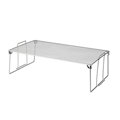 YBM HOME Stackable Mesh Shelf (Silver) - Multipurpose Storage Rack for Kitchen/Bathroom/Garage/Office – Durable, Wire Pantry Organizer – Foldable Space Saving Design from Ybmhome