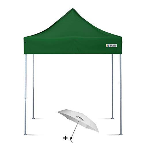 BRIMO Faltpavillon + Freier Regenschirm (2x2m, Grün)