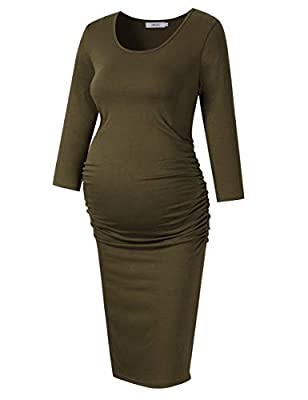 Coolmee MissQee Maternity Dress Ruched Round Neck Maternity Dresses