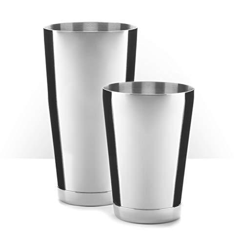 Piña Barware Stainless Steel Commercial Bar Boston Shaker Tin Set - 28oz. & 18oz. (28oz. & 18oz. (Brushed Finish, 1 Pair))