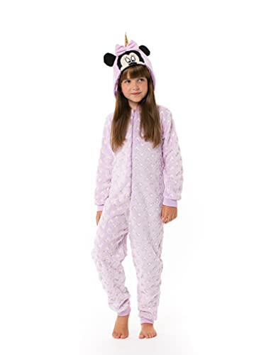 Disney Minnie Mouse y Unicornio Pijama Entero para Niñas, Pijama De Una Pieza, Forro Polar Suave,...