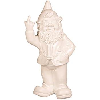 Stoobz Figurine Nain de Jardin avec Doigt d'honneur–pour la Maison & Jardin–Blanc–15x 12x 32cm