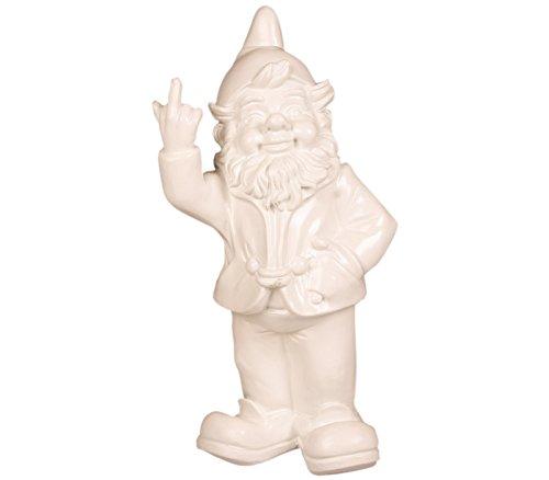 Stoobz Figurine Nain de Jardin avec Doigt d'honneur – pour la Maison & Jardin – Blanc – 15 x 12 x 32 cm