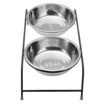 MASUNN Dubbel Huisdier Bowl Schaal Hond Kat Stand Feeder Voedsel Water RVS Duurzaam, L, 1