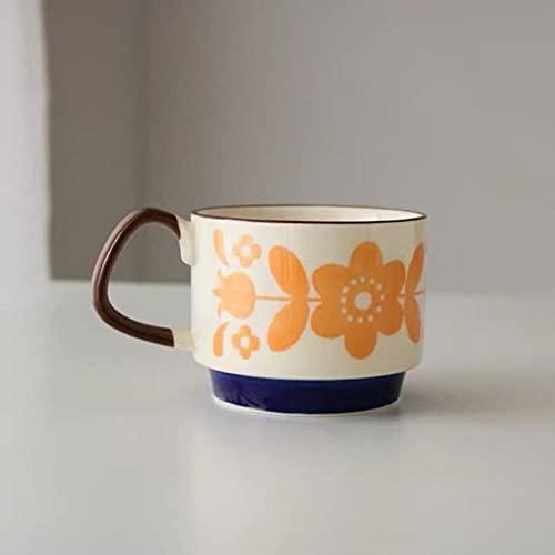 UKKO Tazas 250Ml Retro Glaseado Retro Nordic Coffee Coffe Coff Them La Taza De Cereal De La Leche De Desayuno Creativa Se Puede Utilizar En El Horno De Microondas