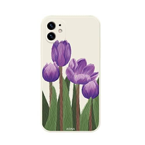 ZWQASP QJSMGZS Funda De Borde Lateral Recta For iPhone 13 11 12 Pro MAX XS MAX XR I Teléfono 8 7 6 Plus SE2020 Cubierta De Flores De Aceite De Silicona Suave (Color : 7, Material : For iPhone XS)