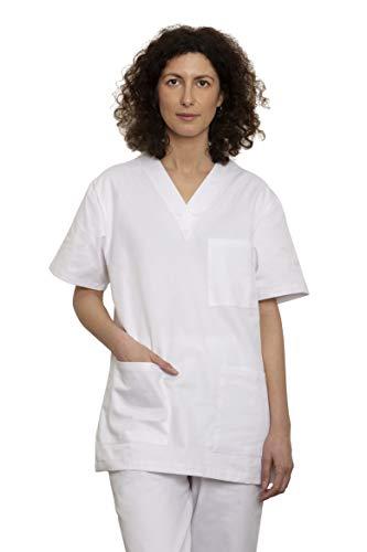 UniMediForm Medizinische Berufsbekleidung - Unisex Schlupfkasack Set mit Oberteil und Hose – für Fachpersonal im Gesundheitswesen – 100% Sanfor Baumwolle Oeko-Tex zertifiziert (L, weiß)