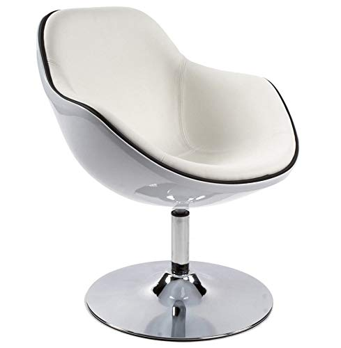 ElleDesign Muschel-Sessel, Farbe wählbar 70er Jahre, Weiß/Schwarz/Rot