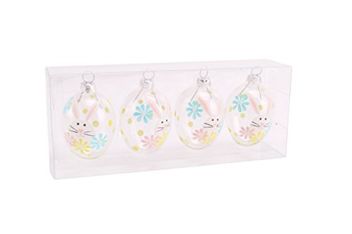 Set van 4 glazen bloemen konijntje Pasen en lente decoratieve Baubles van CGB Giftware Verenigd Koninkrijk | GB01240