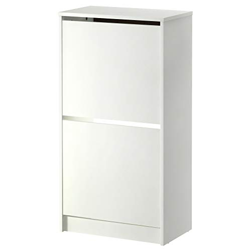 IKEA ASIA BISSA - Zapatero con 2 compartimentos, color blanco