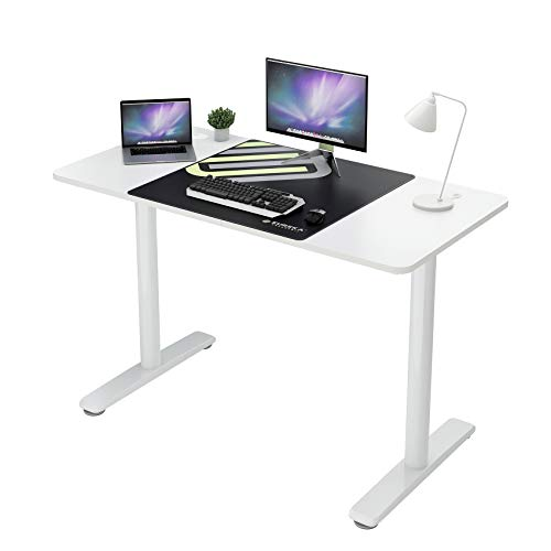 Eureka Ergonomic Home Office Computer Desk, Modern Simple Style Study Writing Desks PC Table for Small Spaces with Free Mouse Pad Cable Management (47 in, White)