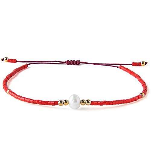 KELITCH Seed Bead Friendship Bracelets Woven Braided Natural Pearl Wax Rope Adjustable String Bracelets Fashion Handmade Gifts(Red Apple S)