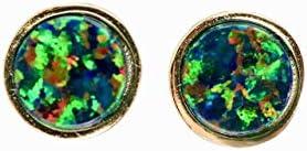 Black Opal Stud Earring 7mm Bezel Set Gold Women s Jewelry Gift Idea product image
