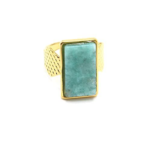 Oh My Shop BG1471 - Anillo ancho acolchado de acero dorado con piedra rectangular verde