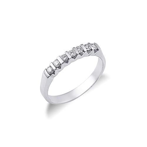 Gioielli di Valenza - Anello Veretta a 7 pietre in Oro bianco 18k con diamanti ct. 0,30 - FE7RS030BB - 13