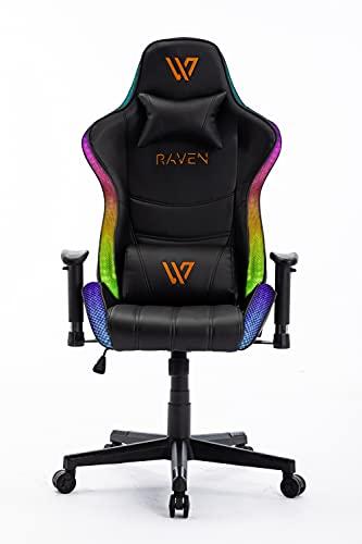 Silla Gaming RGB. Silla Escritorio con Luces LED. Silla butaca Gaming RGB. Sillon Gamer, computadora con Luces LED (Naranja)
