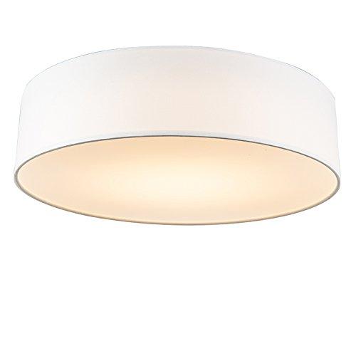 QAZQA - Modern Deckenleuchte | Deckenlampe | Lampe | Leuchte weiß 40 cm inkl. LED - Drum mit Schirm LED | Wohnzimmer | Schlafzimmer | Küche - Textil Rund - | (nicht austauschbare) LED