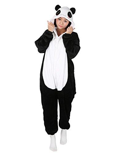 Mujer Pijama Animal Traje de Disfraz Cosplay para Carnaval Halloween Navidad Ropa de Noche Unisex para Ni?os Ni?as Adultos (Panda, M(155-168cm))
