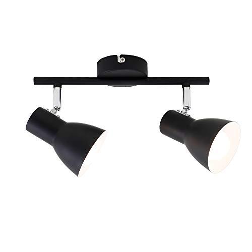 Briloner Leuchten Deckenleuchte, Deckenspot, Strahler dreh-und schwenkbar, 2x E14, max. 25 Watt, Retro, Schwarz, 275x80x150mm (LxBxH)