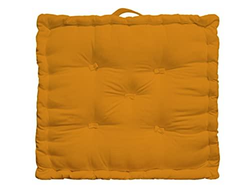 Tiny Break - 100% algodón - Cojín grande para suelo - Interior - Jardín - Silla de comedor - Cojín de asiento - 50 x 50 x 10 cm - Musturd