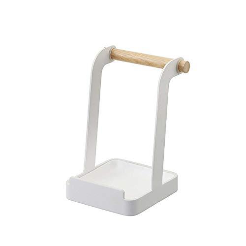 VANRA Soporte de metal para tapa de olla, soporte para cucharón, organizador de utensilios de cocina, estante para utensilios de cocina (blanco)