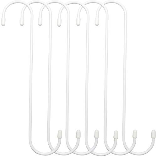ESFUN 6 Pack 10 inch Extra Large S Hooks White Heavy Duty Plant Hanging Hooks Long S Shaped Extension Hooks for Kitchenware,Utensils,Pergola,Closet,Flower Basket,Garden,Patio,Indoor Outdoor Uses